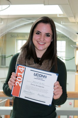 Emily Snodgrass '15 (CAHNR) completed an internship where she researched memory and Alzheimer's disease. She received the 2014 Intern of the Year Award.